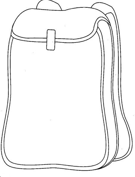 School coloring page craft. Backpack clipart outline