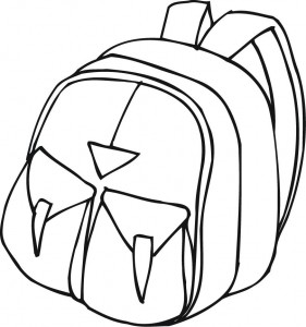 Backpack clipart printable. Outline of a with