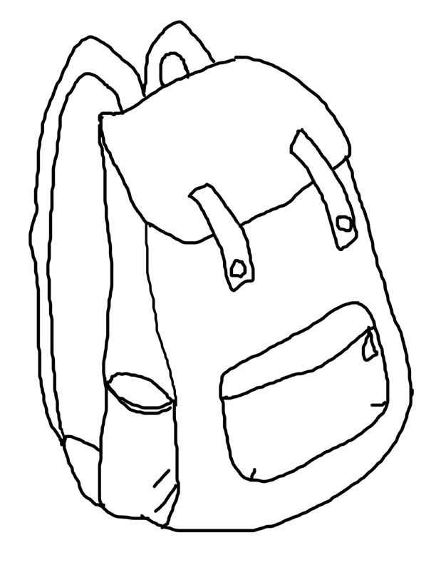 Backpack clipart printable. Coloring page back to