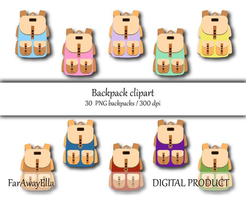 Backpack clipart printable. Hiking backpacks clip art