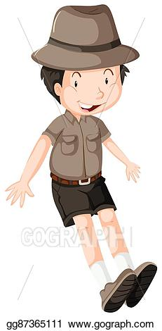 Backpack clipart safari. Vector stock little boy