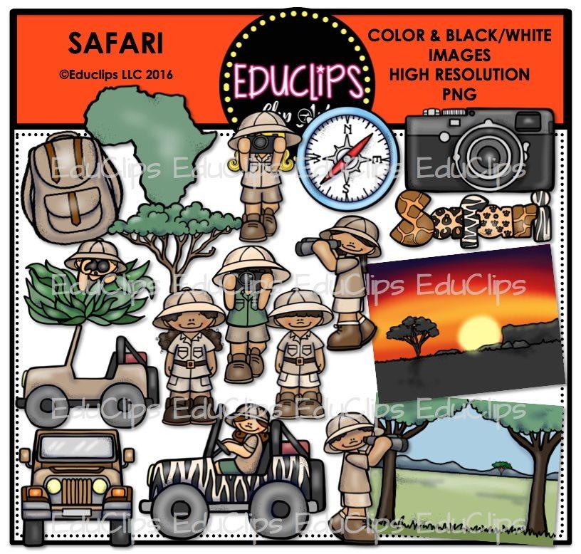 Backpack clipart safari. Clip art bundle color