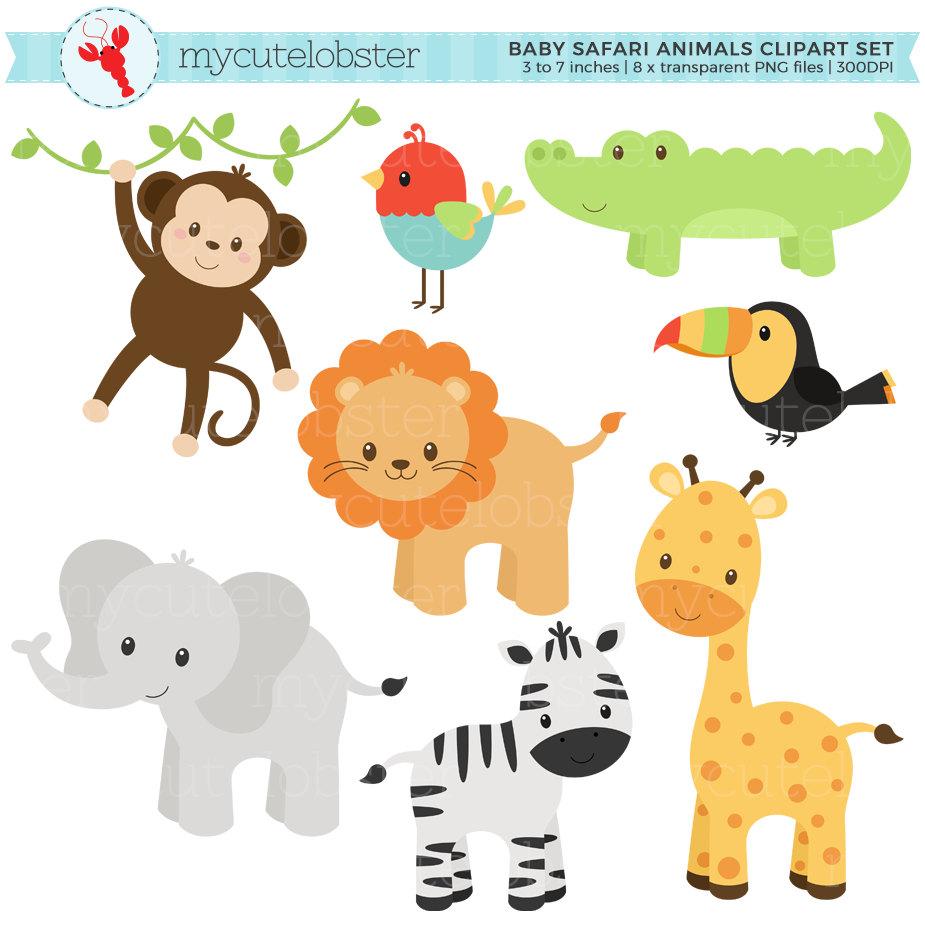 Baby animals set clip. Backpack clipart safari