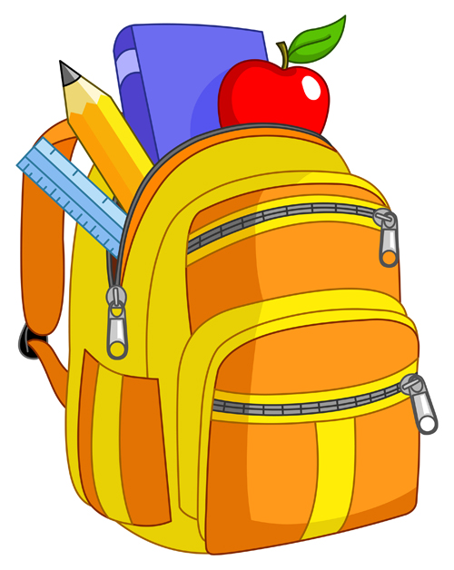Colored vector free download. Backpack clipart school bag