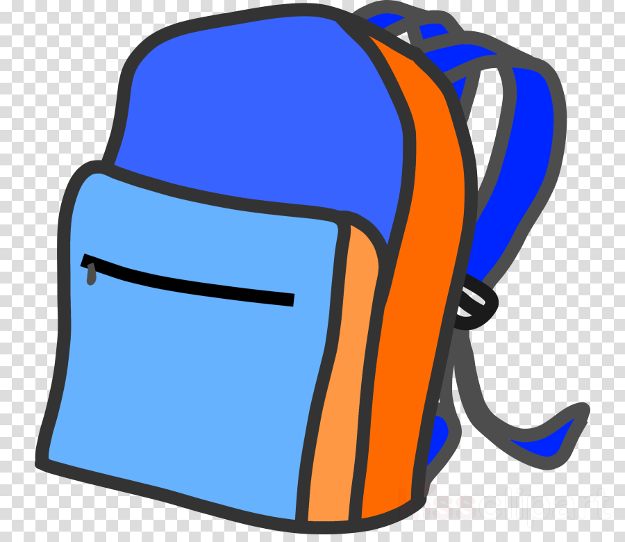 Back to blue background. Bag clipart clip art school