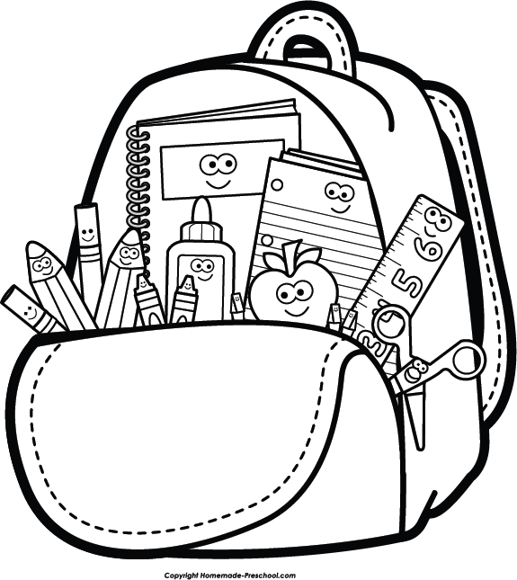 Backpack and supplies spalvinimo. Pencils clipart worksheet