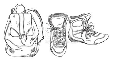 Sneakers and a black. Backpack clipart shoe