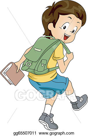 Backpack clipart side view. Vector art kid boy