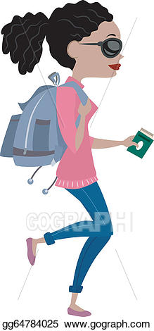 Vector art girl traveling. Backpack clipart side view
