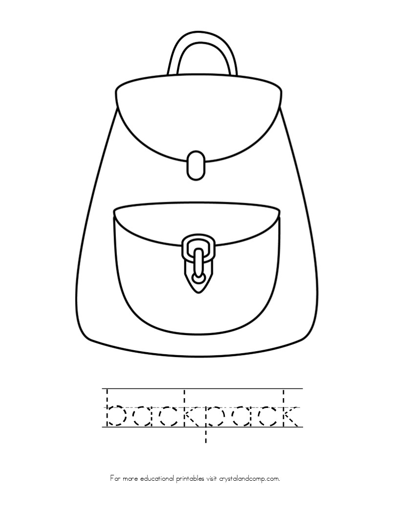 Backpack clipart simple. Strong coloring page camping