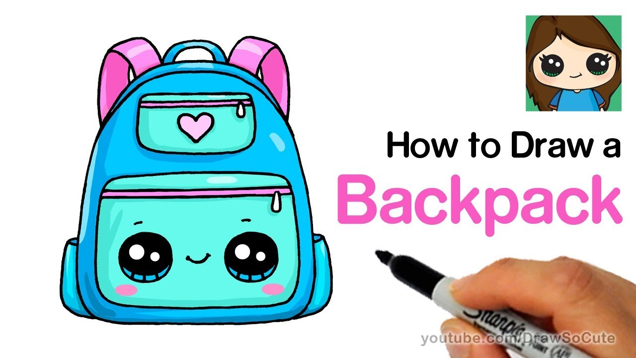 How to draw a. Backpack clipart simple