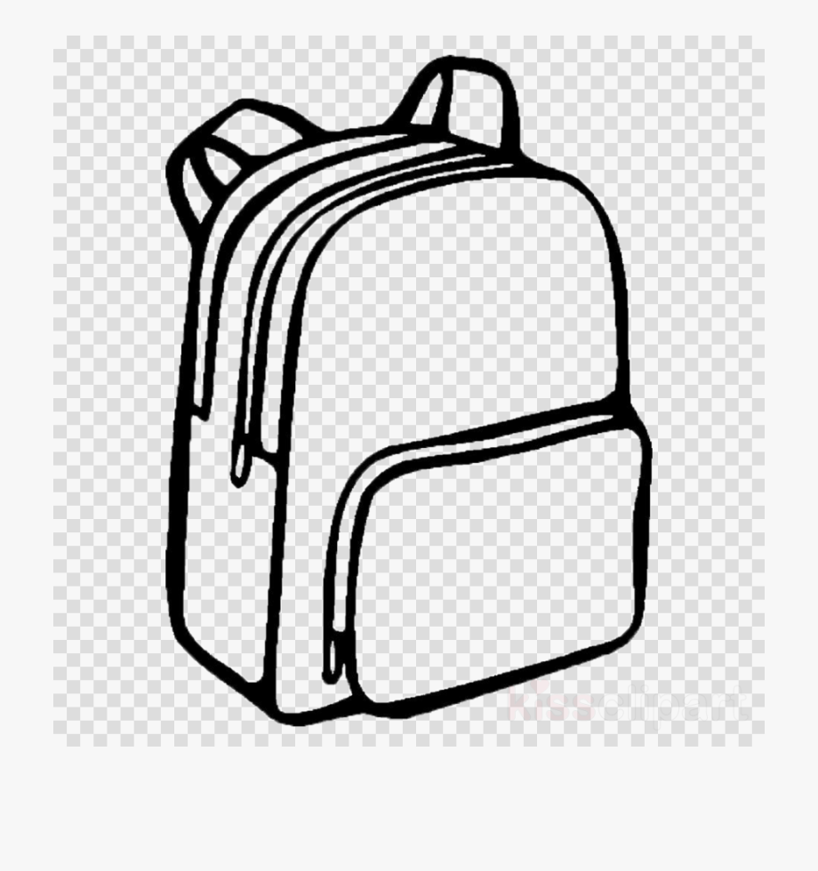 Rectangle transparent line drawing. Backpack clipart simple