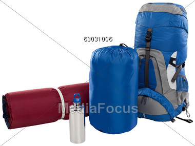 Stock photo pad image. Backpack clipart sleeping bag