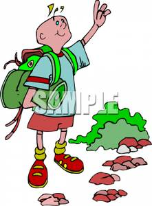 A colorful cartoon of. Backpack clipart sleeping bag