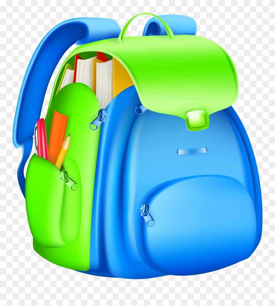 Full backpack collection school. Bookbag clipart transparent background
