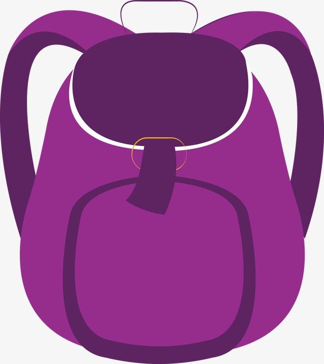 Backpack clipart vector. Purple school bag hand