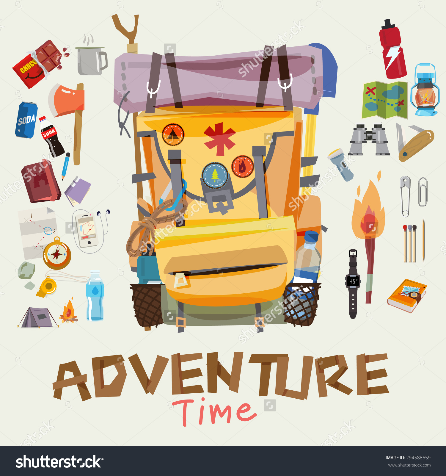 Adventure explore pictures. Backpack clipart vector