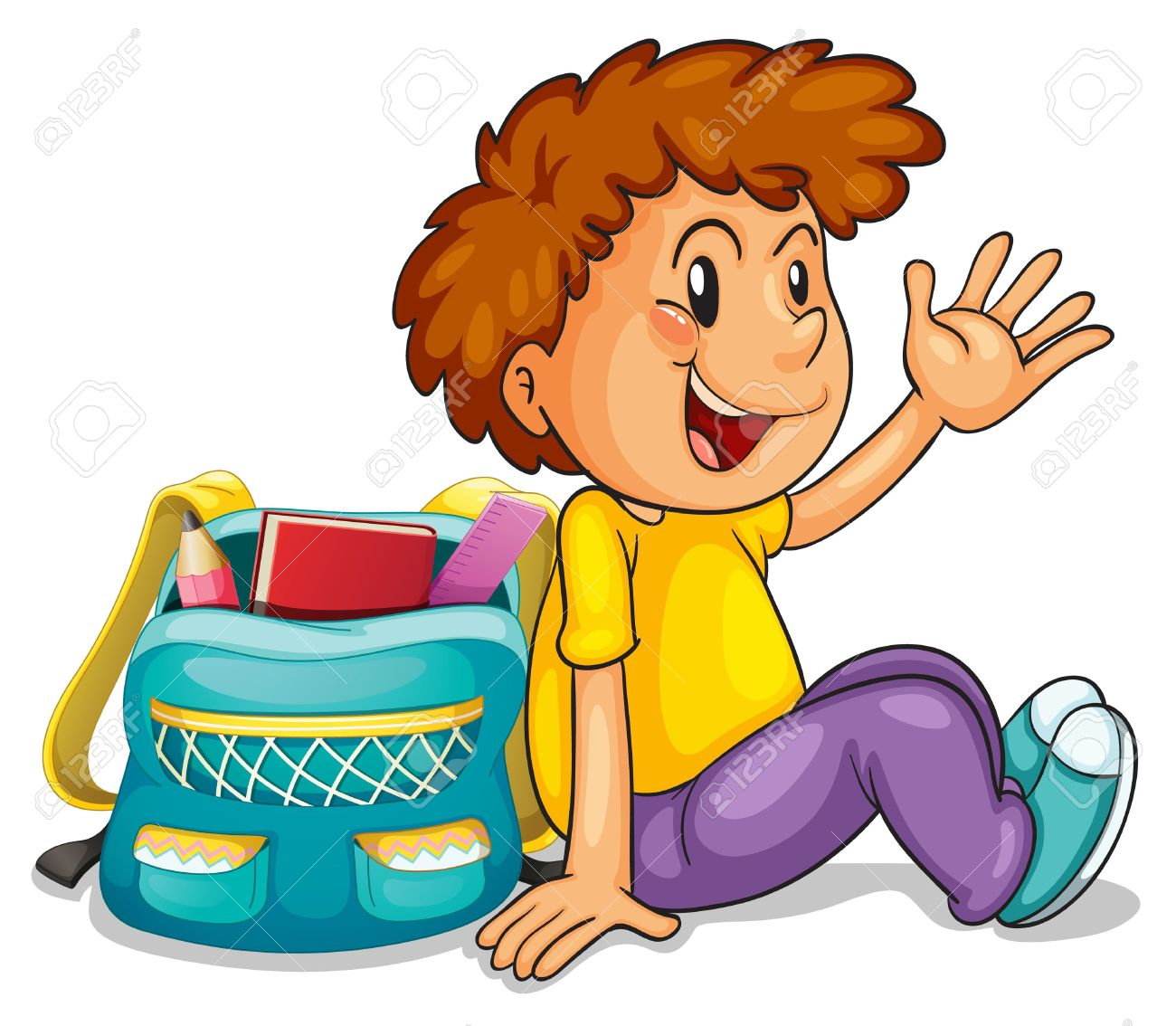 collection of boy. Bag clipart student