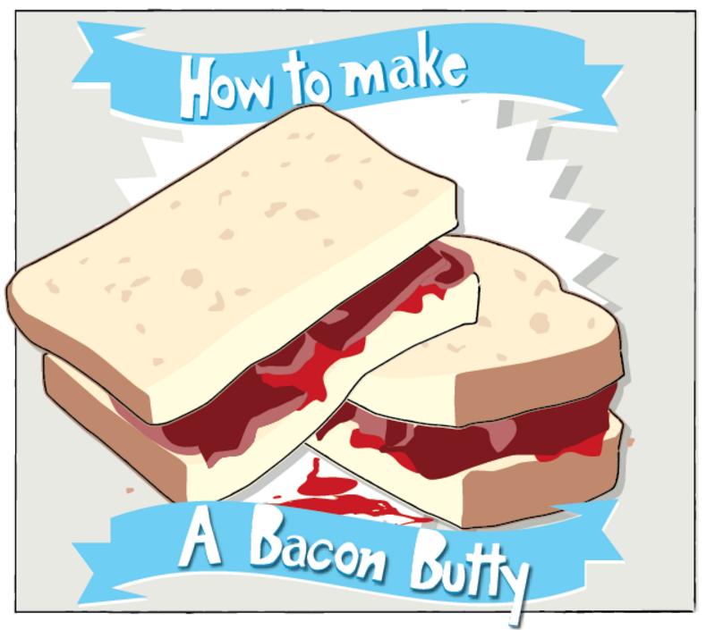 Bacon clipart bacon butty. Sandwich breakfast recipe cartridgesave