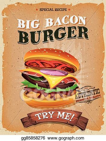 Burger clipart snack. Vector illustration grunge and