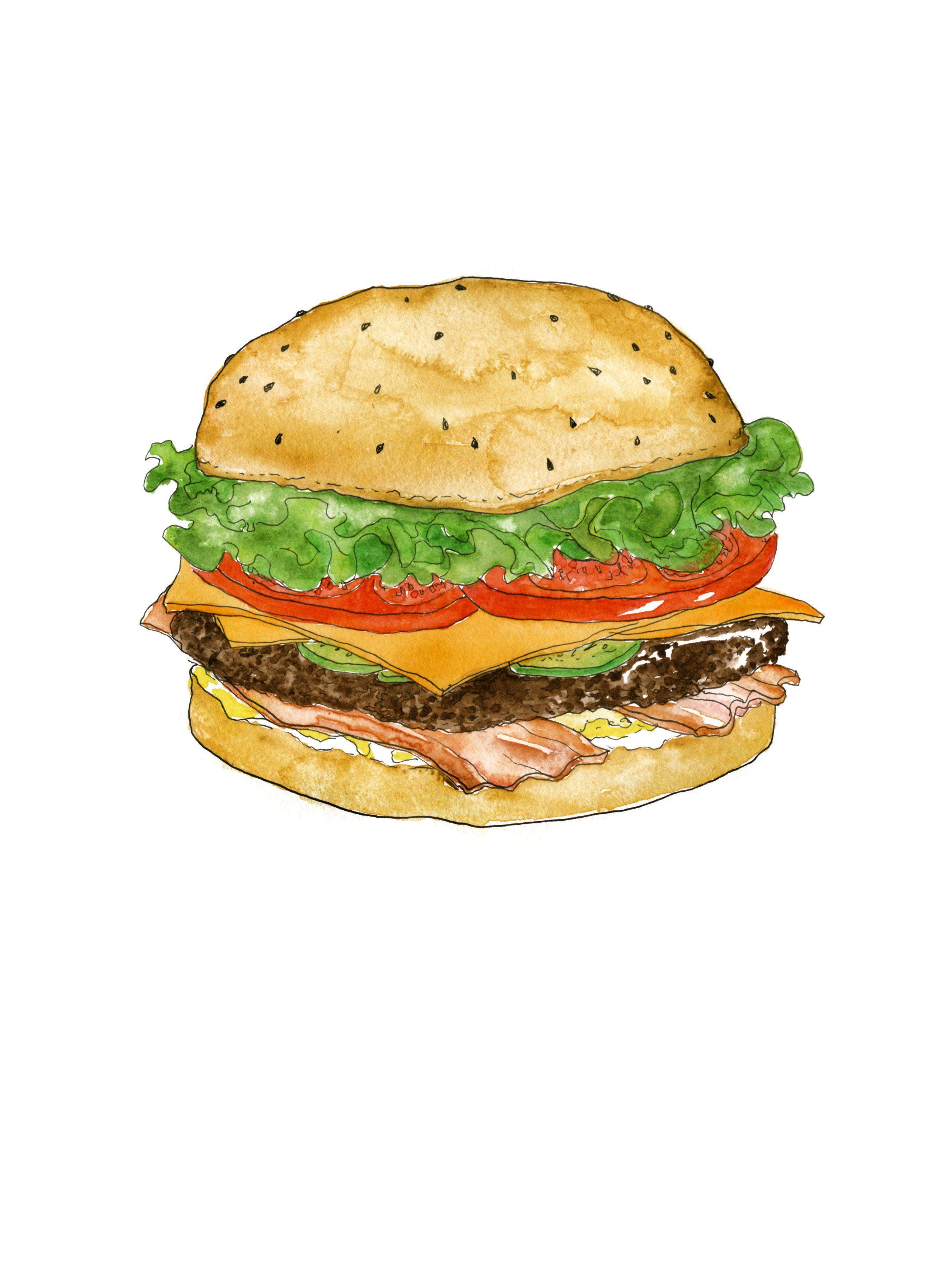 Burger watercolor art print. Bacon clipart bacon cheeseburger