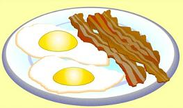Free and eggs breakfast. Bacon clipart bacon egg