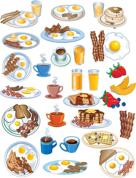 Bacon clipart balanced breakfast. Vector eggs free download