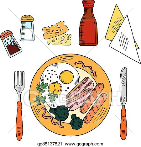 Vector art traditional with. Bacon clipart balanced breakfast