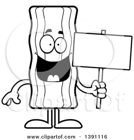 Ideal cartoon characters of. Bacon clipart black and white