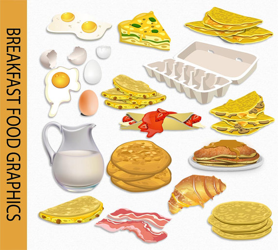 Clip art graphic food. Bacon clipart breakfast