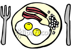 Bacon clipart breakfast plate. Eggs and on a