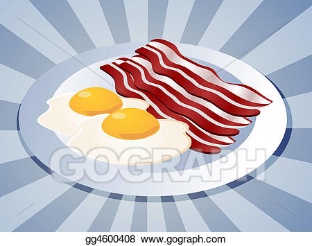 Stock illustration and eggs. Bacon clipart breakfast plate
