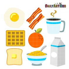 Eggs toast and juice. Bacon clipart breakfast time