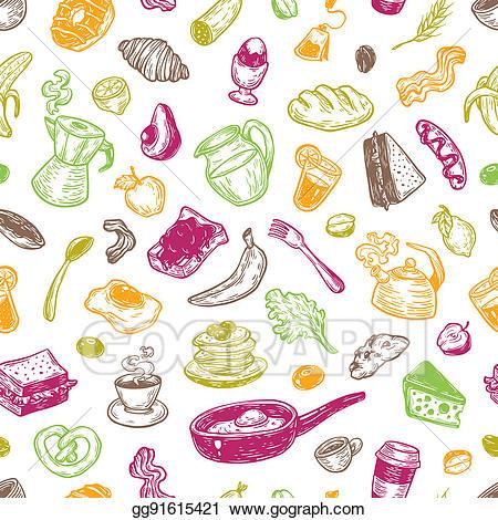 Stock illustration pattern . Bacon clipart breakfast time