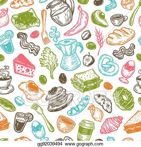 Bacon clipart breakfast time. Stock illustration pattern