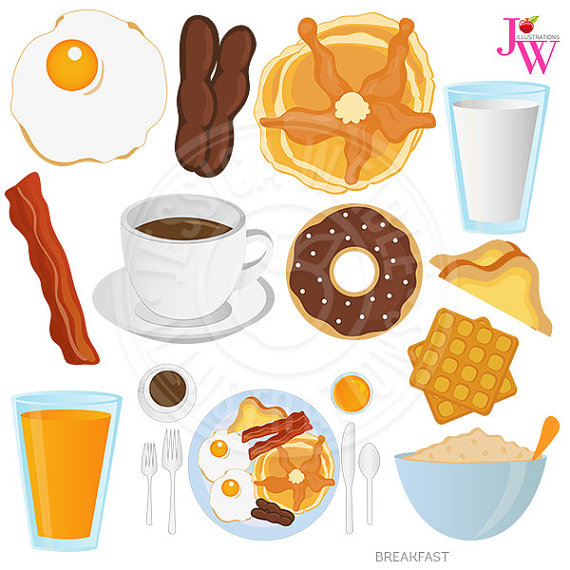 Food digital clip art. Bacon clipart breakfast