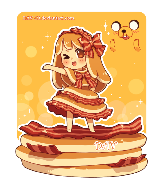 Bacon clipart character. Pancake by dav on