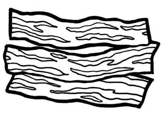 Pages b and w. Bacon clipart coloring page