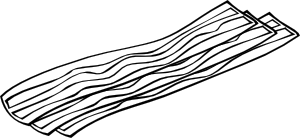 B and w clip. Bacon clipart coloring page