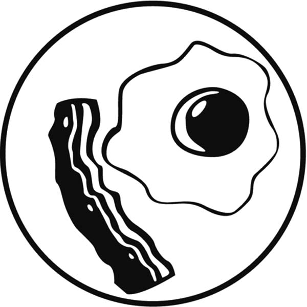 collection of and. Bacon clipart coloring page
