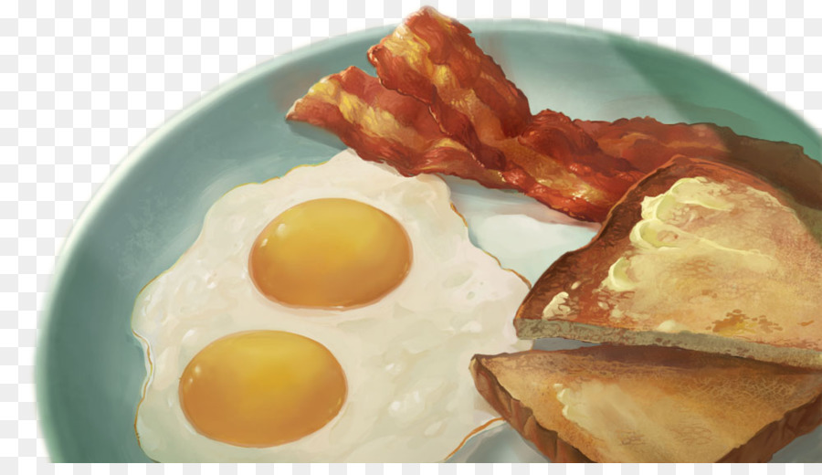 Bacon clipart egg toast. Breakfast fried ham and