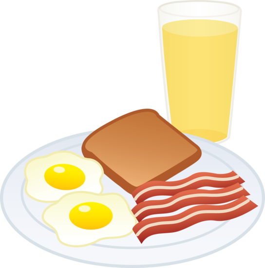 Eggs toast and juice. Bacon clipart food