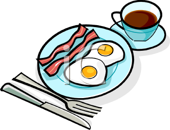 Eggs and coffee image. Bacon clipart food