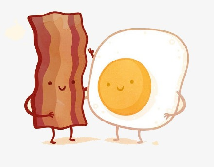 Bacon clipart fried egg. Flat and eggs material