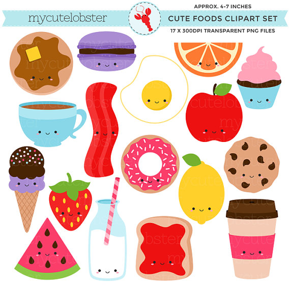 Cute foods set clip. Bacon clipart person