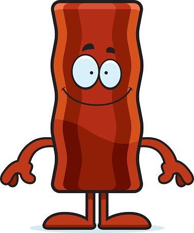 Bacon clipart person. Happy cartoon strip stock