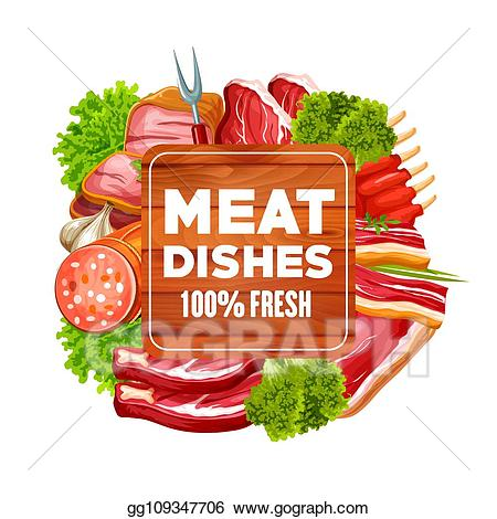 Vector stock meat sausage. Bacon clipart pork food