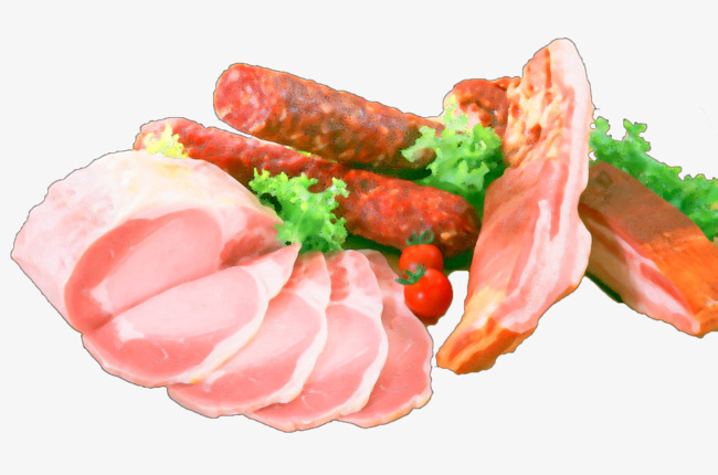 Hand painted sausage png. Bacon clipart pork food