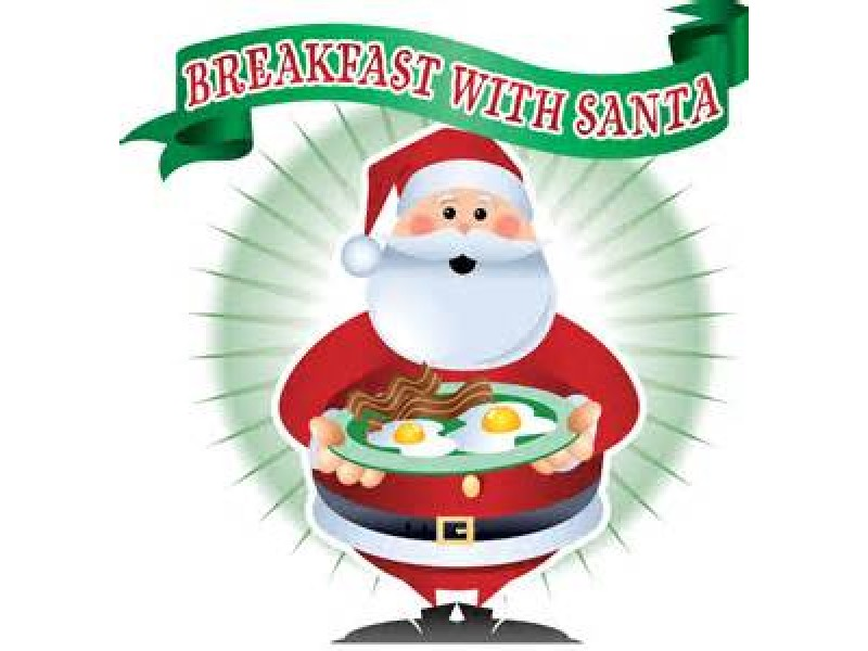 With coming to red. Bacon clipart santa breakfast