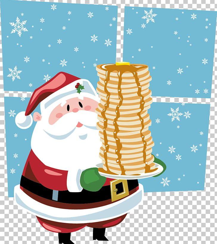 Pancake claus scrambled eggs. Bacon clipart santa breakfast